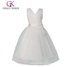 Grace Karin sin mangas baratos princesa vestido de niña de flores blancas CL008905