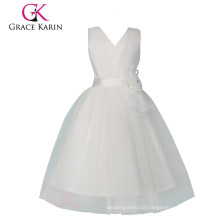 Grace Karin Sleeveless Cheap Princess White Flower Girl Dress CL008905