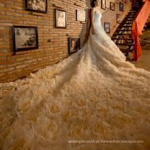 Flores high-end 2,6 metro longo trem nupcial vestido de noiva