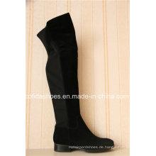 Sexy flache Frauen Winter Lange Stiefel mit Mode Elastik