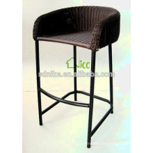 2014 the latest hot sale design aluminum frame tall black rattan bar chair