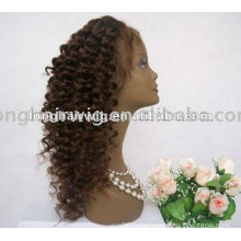 Mode conçu cheveux humains indiens court Jerry Curl Full Lace perruques