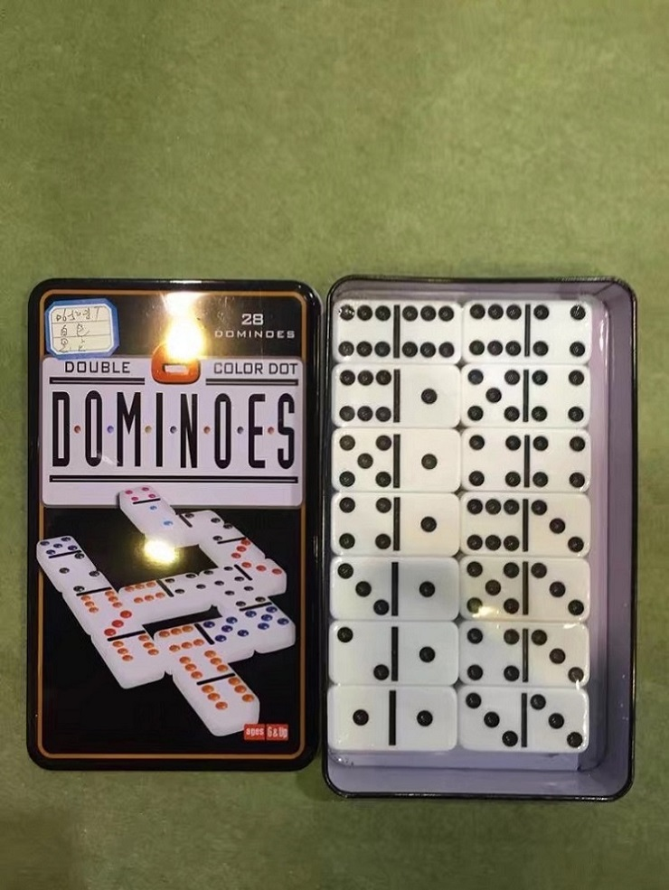 Melamine Plastic Dominoes With Tin Box