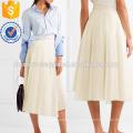 Plissado de algodão e organza Wrap Midi saia fabricação atacado moda feminina vestuário (TA3040S)