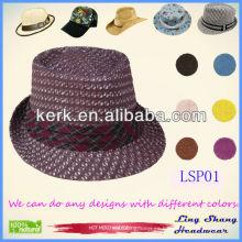 Sombrero de paja promocional del papel de Panamá de la alta calidad 2013, sombrero de paja del papel del 100%, LSP01