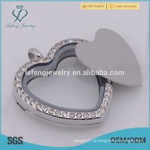 De boa qualidade 316 de aço inoxidável Silver Blank coração placas flutuantes para 30 milímetros Round flutuante Lockets