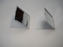 접는 정연 한 모양 플라스틱 주머니 거울-싱글