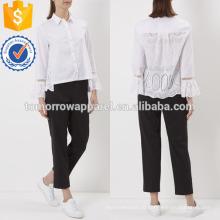 Белый хлопок Рябить Толстовка Производство Оптовая продажа женской одежды (TA4008B)