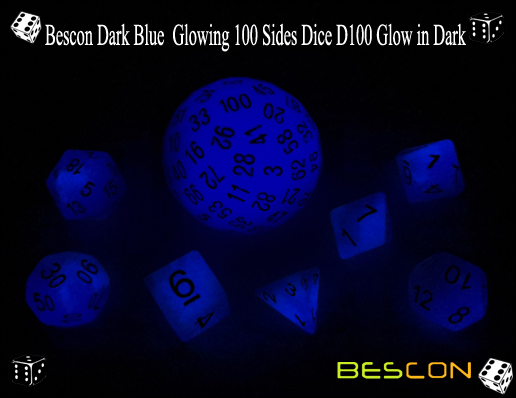 Bescon Dark Blue Glowing 100 Sides Dice D100 Glow in Dark-4