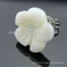 Pendiente de perlas de acero inoxidable Pendiente de agua dulce Shell Pendiente de perlas de cáscara de flores EF-028
