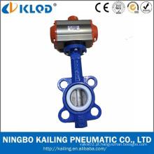 KLQD Marca DN50 Aço inoxidável Melhor Preço Válvula Borboleta Pneumática Wafer