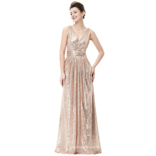 Kate Kasin Sans manches V-Neck Rose Or Brillante Sequined Long Evening Party Robe KK000199-2