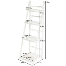 Wholesale white wash wood ladder rack display folding stand shelf for plant flowers