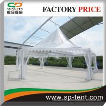 Niedrigster Fabrik Preis Hexagonal Aluminium Heavy Duty Pagode Marquee Canopy Zelt Mit Clear PVC Stoff