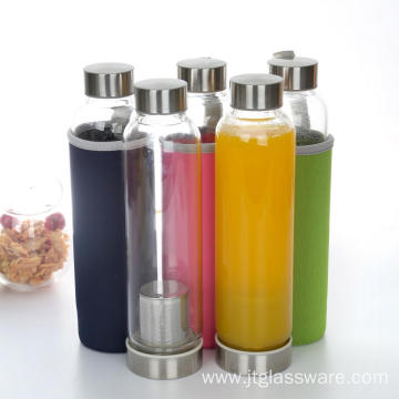 Silicone Sleeve Top Carrying Strap Glass Water Bottle