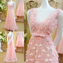 Romântica Sexy V Neck Applique Beaded Flower Vestidos de noite com arco Sash Pink Vestidos de noite formal de alta qualidade ML173