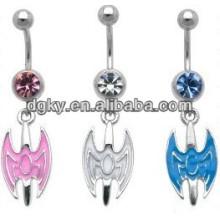 Animal piercing jóias homem morcego umbigo barriga anel