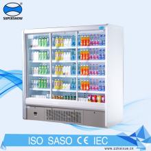 Geladeira para bebidas geladas com visor de duas portas deslizantes