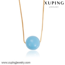 43950 fashion jewelry manufacturer 18k copper alloy simple light blue bead jewelry necklace