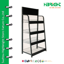 Heavy duty retail beverage display shelf for shopping mall
