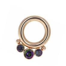 Anel Piercing Titanium G23 Titanium personalizado da jóia de cristal Opal do anel