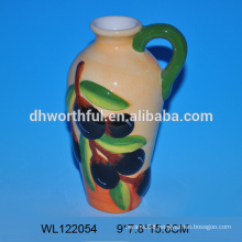 Factory directly handpainting ceramic olive oil bottle