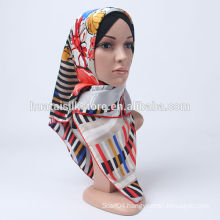 2014 100% silk big size flower stylish muslim hijab wholesale
