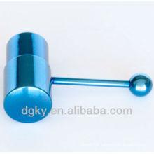 New design Blue vibrating body jewelry gauge tongue bar