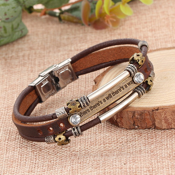 Alloy Rhinestone Handmade Leather Bracelets