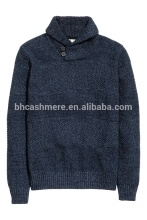 Latest sweater designs for men shawl collar button sleeve ribbed pullover sweater