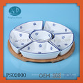 ceramic divided plate set,food serving dish set, 5pcs round tray with tooth pick holder set