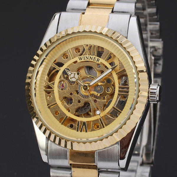 fashion winner skeleton design mechanical watch with hign quality stainless steal band