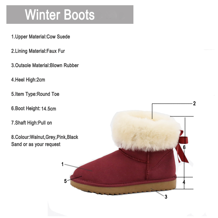 Fashionable warm leather snow ankle