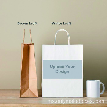 Custom Kraft Paper Bags Brown / White