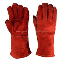 Guantes de soldadura aislados de cuero rojo de 35cm