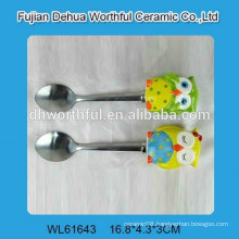 2016 lastest style ceramic owl shaped and stainless steel spoon