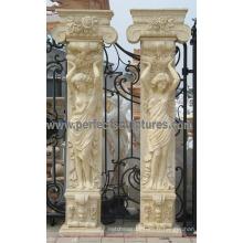 Pilier de porche avec grès en granit de marbre en pierre (QCM130)