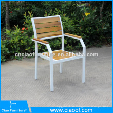 New design stackable aluminum chair with teak wood
