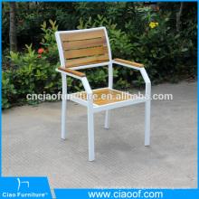 Novo design de cadeira empilhável de alumínio com madeira de teca