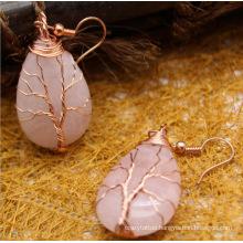 Antique Copper Wire Wrapped Crystal Earrings Vintage Handmade Gemstone Tree of Life Earrings
