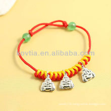 China antique design silver pendant jewelry red rope bracelets
