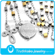 New Arrival Handmade Fashion High Quality Rosary Beads Style Cross Chain Fine Jewelry Necklaces in 316 Stainless Steel