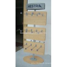 Gancho de metal del panel de madera de la base redonda del logotipo de encargo 2-Way Freestand