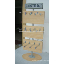 Custom Logo Round Base Wood Panel Metal Hook 2-Way Freestand Wholesale Baseball Glove Display Rack