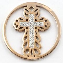 Mode austauschbare Kreuz Münze Platte mit weißen Zirkonia