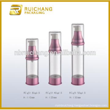 30ml/40ml/50ml cosmetic airless bottle,plastic round airless bottle,cosmetic packaging