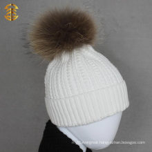 Hot Sale Child Winter Beanies Knitted Hat with Fur Pom Pom