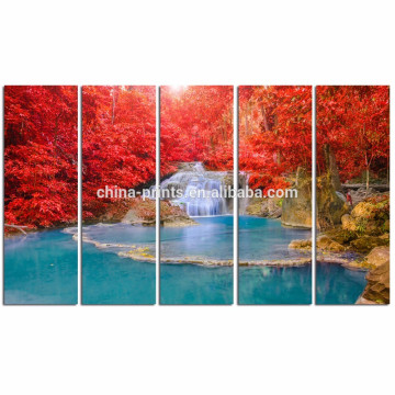 Modern Dreamlike Waterfall Canvas Print/Stretched Peaceful Scenery Wall Art/Maple Tree Canvas Painting
