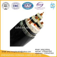 Câble blindé de fil d'acier de câble d'alimentation de YJV XLPE et câble de trame d'écran de bande de cuivre