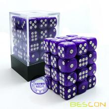 Bescon 12 mm 6 caras Dice 36 en Brick Box, 12 mm Six Sided Die (36) Bloque de dados, Marble Purple